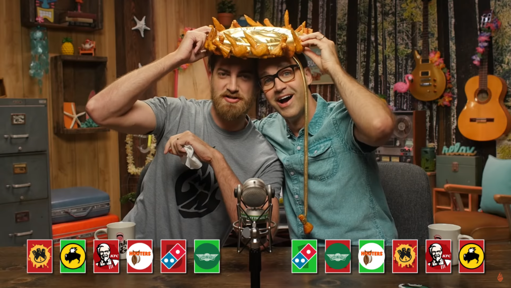 Good Mythical Morning Rhett and Link share the 'wing crown.'