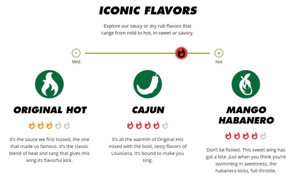 New Wingstop website and app feature sliding flavor scale