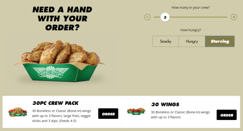 New Wingstop website and app feature Wing Calculator
