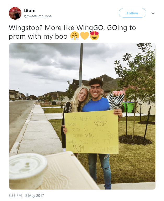 Wingstop promposal tweet from @tweetumhunna.