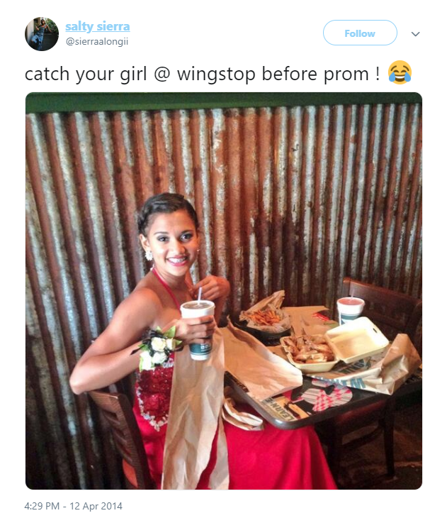 Wingstop Promposal tweet from @sierraalongii
