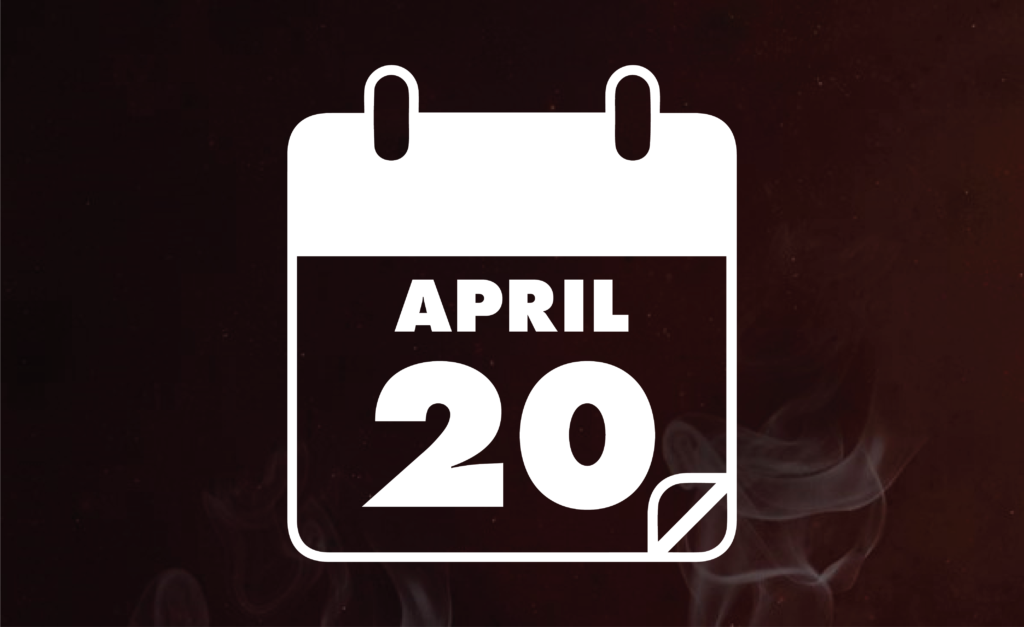 Simple image of a calendar with the date April 20.