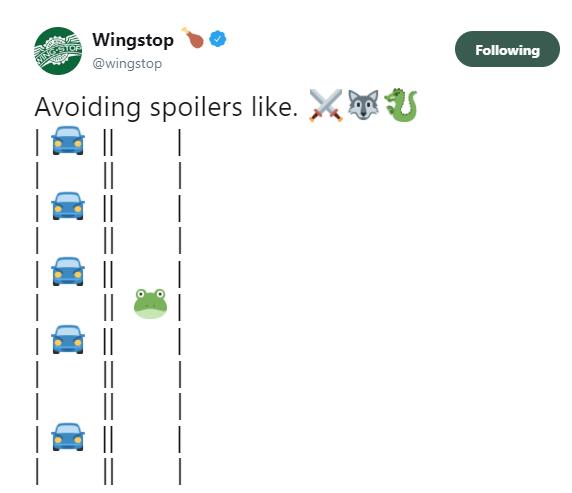 Game of Thrones Wingstop tweet