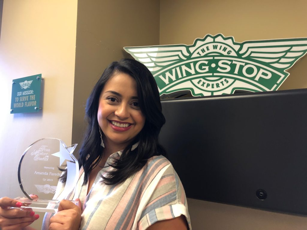 Amanda Paredes Wingstop Team Member of the Quarter