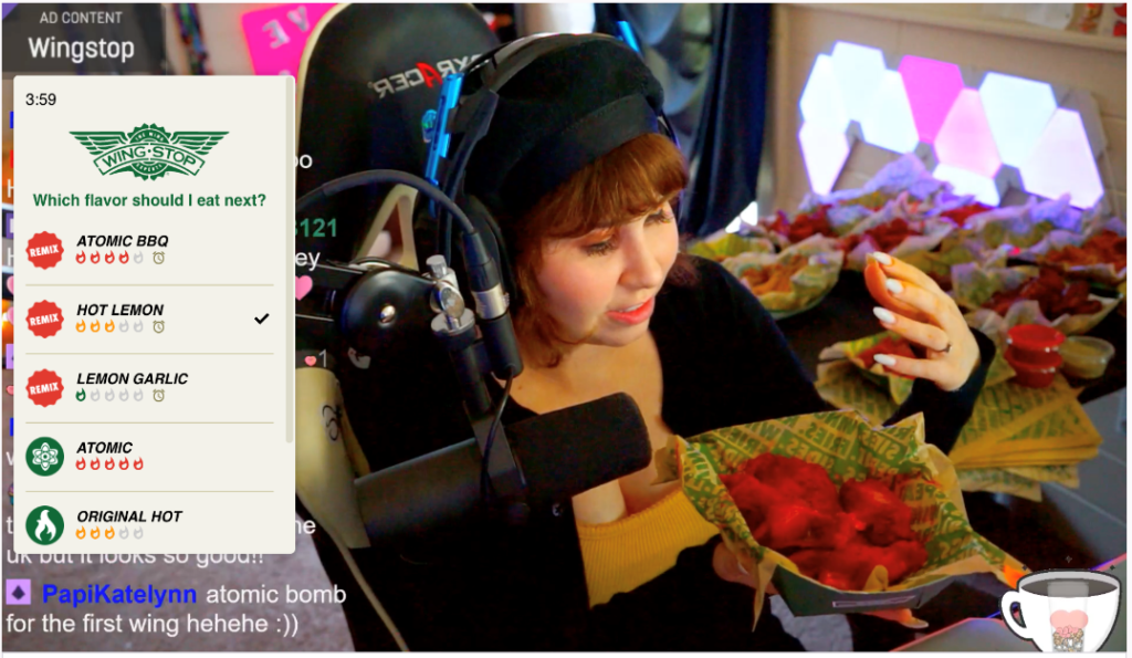 Twitch streamer TheHaleyBaby tries Wingstop flavors