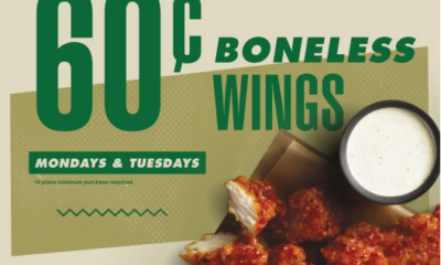 Sixty-Cent Boneless Wings Available at Participating Locations Celebrate Savings every Monday and Tuesday with Wingstop.
