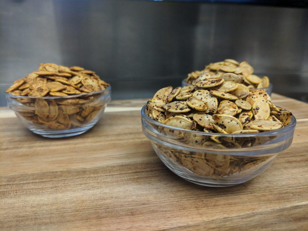 Wingstop pumpkin seeds - roasted in Wingstop flavors, Lemon Pepper, Cajun and Fry Seasoning