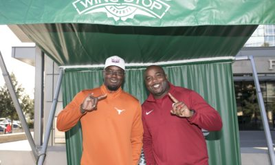 """Wing Truck Hosted the Ultimate Battle """"Roy""""ale Former football players Roy Williams (UT) and Roy Williams (OU) participated in a Wingstop """"Sauce 'n Toss"""" competition."""