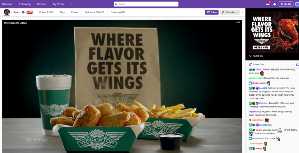 Wingstop Twitch Extension Enables Online Ordering within the Stream