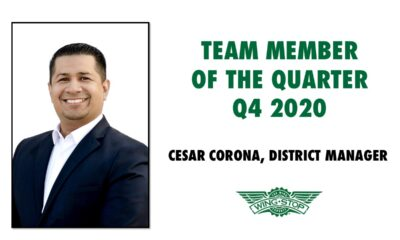 Celebrating Team Member of the Quarter – Cesar Corona District manager recognized by Wingstop team.